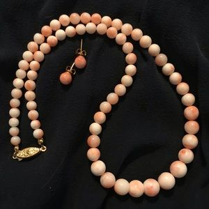 Jewelry - Coral Necklace with Matching Earrings
